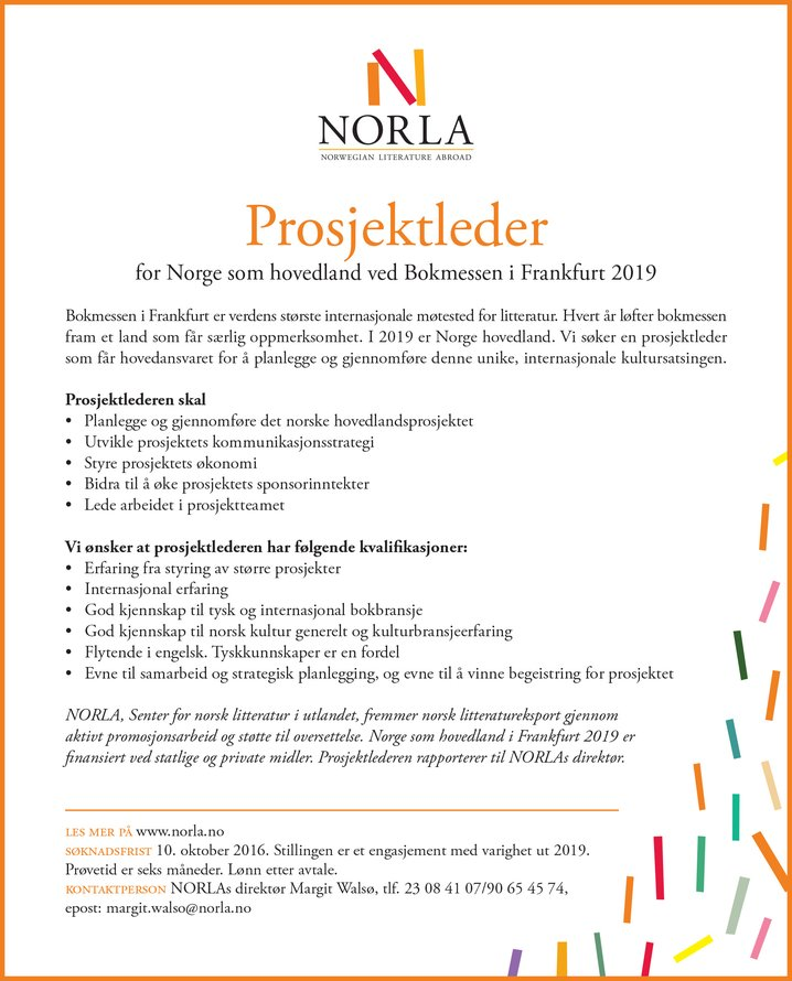 Norla Seeks Project Manager For Norway As Guest Of Honour At The